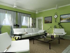 Интерьер в стиле эко: насыщенный зеленый