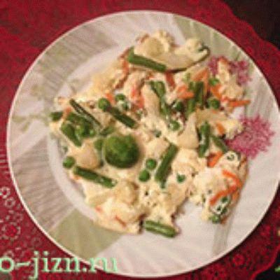 Омлет с замороженными овощами. Рецепт