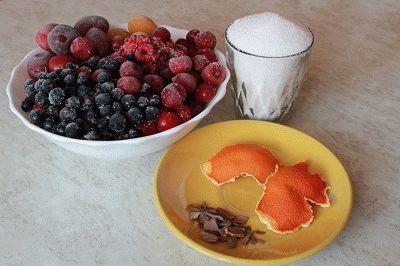 Компот из замороженных ягод. Ингредиенты