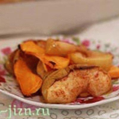 Рецепт запеченной тыквы с яблоками