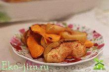 Постный полезный десерт Фото-рецепт запеченной тыквы с яблоками,  корицей и апельсином
